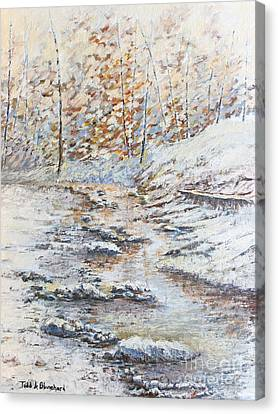 Winter River Canvas Print by Todd A Blanchard