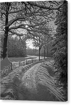 Winter Road  Christmas Card Canvas Print by German School