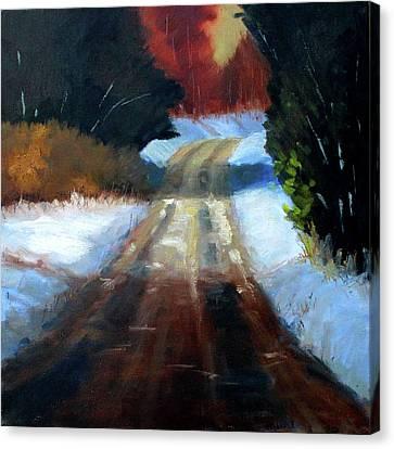 Winter Road Landscape Canvas Print by Nancy Merkle