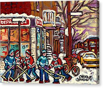 Winter Scene Hockey Painting Verdun Depanneur Kik Cola Bicycle Montreal Canadian Art Carole Spandau  Canvas Print by Carole Spandau