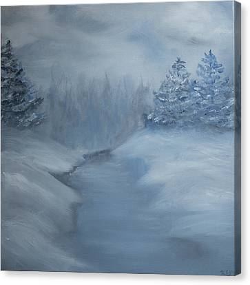 Canvas Print featuring the painting Winter Scene In Blue.  by Kara Evelyn-McNeil