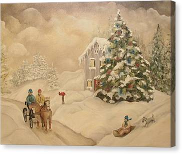 Canvas Print featuring the painting Winter Scene by John Stuart Webbstock