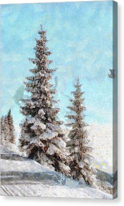 Winter Scene - Mountain Pine Tree Landscape Painting Canvas Print by Wall Art Prints