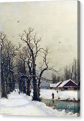 Winter Scene Canvas Print by Nils Hans Christiansen