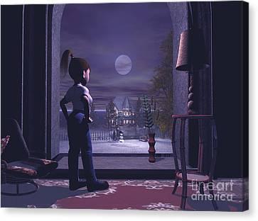 Winter Scene Threw A Window Canvas Print by John Junek
