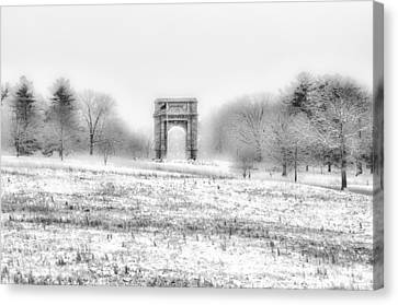 Winter Scene - Valley Forge Arch In Black And White Canvas Print by Bill Cannon