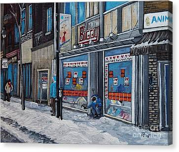 Montreal Winter Scenes Canvas Print - Winter Scene Verdun by Reb Frost