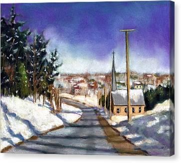 Winter Scene With Church Canvas Print by Joyce Geleynse