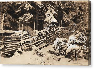 Winter Scene With Hunter And Fox By Fence Canvas Print