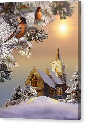 Winter Scene With Robins And Church   Canvas Print