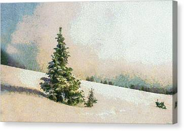 Winter Scenery Art - Pine Tree On A Snow Mountain Canvas Print by Wall Art Prints