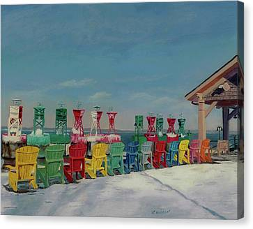 Canvas Print featuring the painting Winter Sentries by Lynne Reichhart