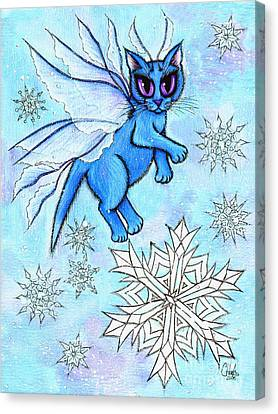 Winter Snowflake Fairy Cat Canvas Print by Carrie Hawks