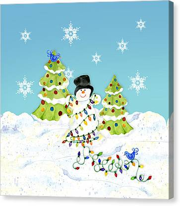 Winter Snowman - All Tangled Up In Lights Snowflakes Canvas Print