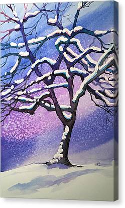 Winter Snowstorm Canvas Print by Christine Camp