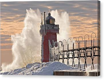 Winter South Haven Lighthouse Canvas Print by Dean Pennala