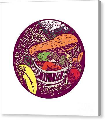 Winter Squash Pumpkin Oval Woodcut Canvas Print