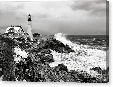 Winter Storm At Portland Head Canvas Print by Olivier Le Queinec