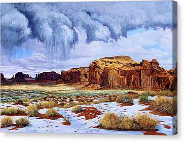 Winter Storm In Mystery Valley Canvas Print by Timithy L Gordon