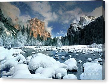Canvas Print featuring the photograph Winter Storm In Yosemite National Park by Dave Welling