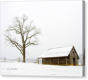 Winter Storm On The Farm Canvas Print by George Randy Bass