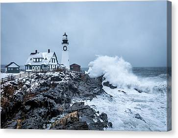 Winter Storm, Portland Headlight Canvas Print
