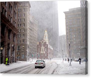Winter Storm Stella Hitting The Boston State Street Canvas Print by Toby McGuire
