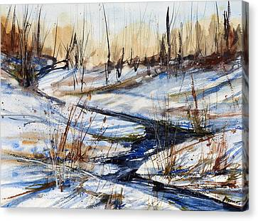 Winter Stream Canvas Print by Judith Levins