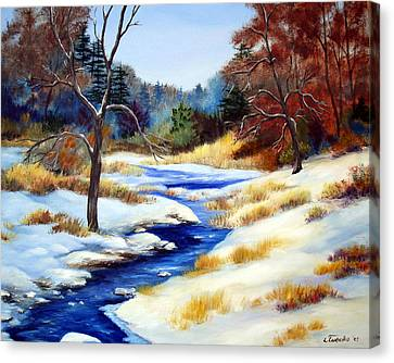 Winter Stream Canvas Print by Laura Tasheiko