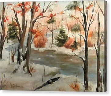 Canvas Print featuring the painting Winter Stream by Roseann Gilmore