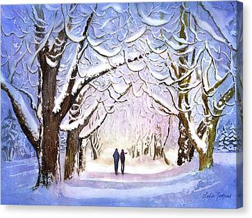 Winter Stroll Canvas Print by Leslie Redhead