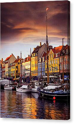 Danish Canvas Print - Winter Sun Over Nyhavn Copenhagen  by Carol Japp