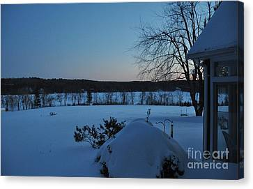 Canvas Print featuring the photograph Winter Sunrise On Demond Pond by John Black