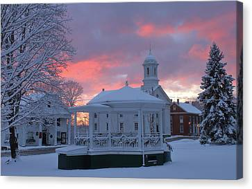 Winter Sunrise On The Common Canvas Print by John Burk