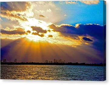 Winter Sunrise Over Miami Beach Canvas Print by William Wetmore