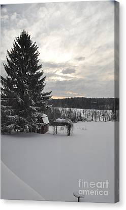 Canvas Print featuring the photograph Winter Sunset - 2 by John Black