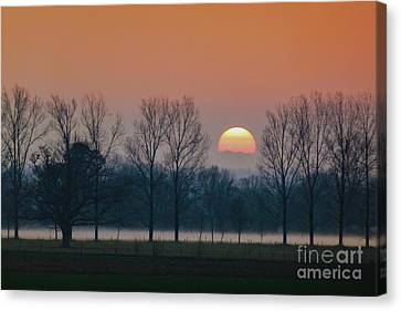 Winter Sunset 1 Canvas Print by Jean Bernard Roussilhe