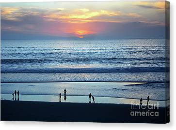Canvas Print featuring the photograph Winter Sunset At Carmel Beach by Susan Wiedmann