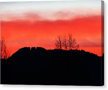 Winter Sunset At Horsetooth Rock Canvas Print by Shari Massey