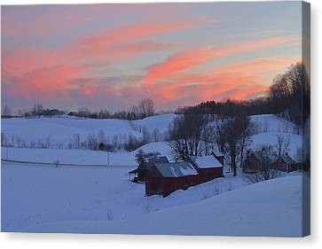 Winter Sunset At Jenne Farm Vermont Canvas Print by John Burk