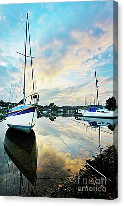 Winter Sunset At Mylor Bridge Canvas Print