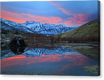 Canvas Print featuring the photograph Winter Sunset At The Wallsburg Turn. by Johnny Adolphson