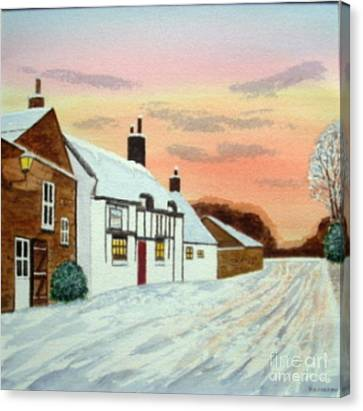 Winter Sunset At 'the Wheatsheaf' Canvas Print by Peter Farrow