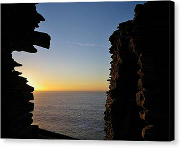 Winter Sunset At Tintagel Castle Cornwall Canvas Print