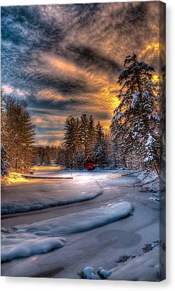 Winter Sunset Canvas Print by David Patterson
