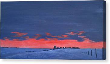 Winter Sunset Canvas Print by Denise   Hoff