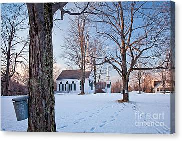 Winter Sunset In New Salem Canvas Print by Susan Cole Kelly