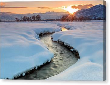 Winter Sunset In Rural Utah. Canvas Print