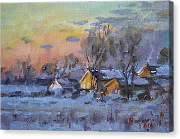 Winter Sunset In The Farm Canvas Print by Ylli Haruni
