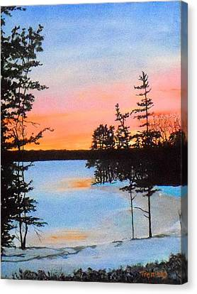 Winter Sunset Laurel Lake Lenox Ma Canvas Print by William Tremble